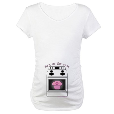 Pink Bun in the Oven White Maternity T-Shirt