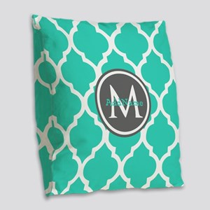 Teal Gray Moroccan Lattice Mon Burlap Throw Pillow