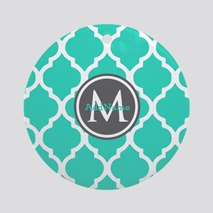 Teal Gray Moroccan Lattice Monogr Ornament (Round)
