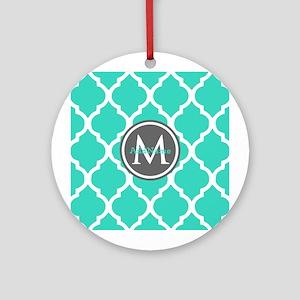 Teal Gray Moroccan Lattice Monogr Ornament (Round)