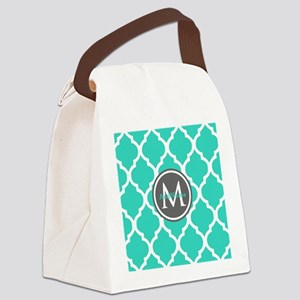 Teal Gray Moroccan Lattice Monogr Canvas Lunch Bag