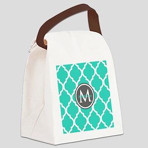 Teal Gray Moroccan Lattice Monogr Canvas Lunch Bag