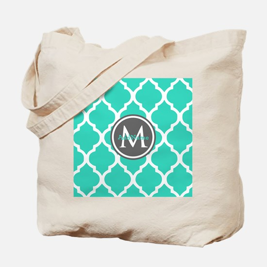 Teal Gray Moroccan Lattice Monogram Tote Bag