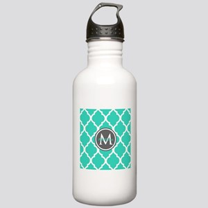 Teal Gray Moroccan Lat Stainless Water Bottle 1.0L