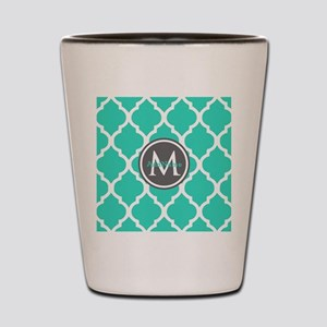 Teal Gray Moroccan Lattice Monogram Shot Glass