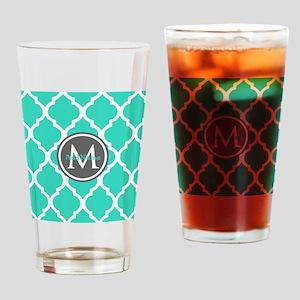 Teal Gray Moroccan Lattice Monogram Drinking Glass