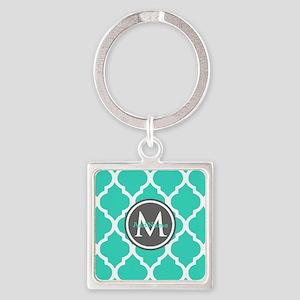 Teal Gray Moroccan Lattice Monogra Square Keychain