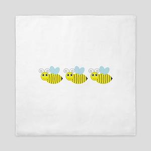 Row of Honey Bees Queen Duvet