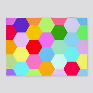 Multicoloured Hexagon Design 5'x7'area Rug