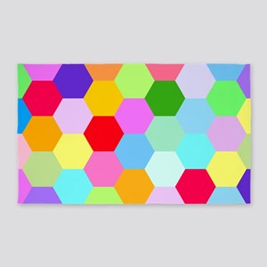 Mullticoloured Hexagon Design 3'x5' Area Rug