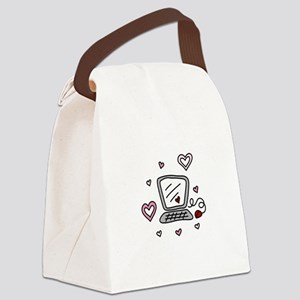 Computer Love Canvas Lunch Bag
