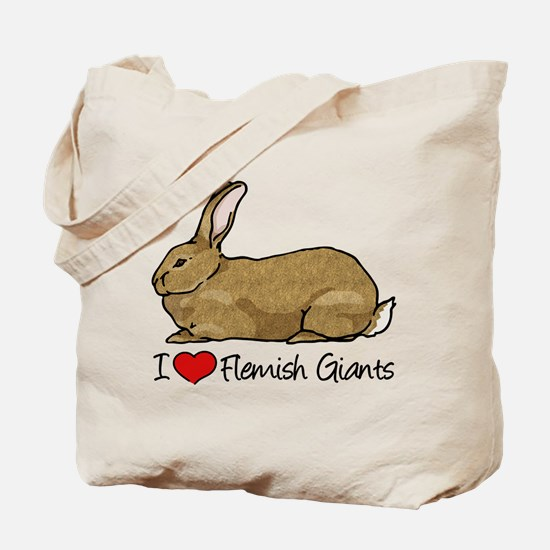 I Heart Flemish Giant Rabbits Tote Bag