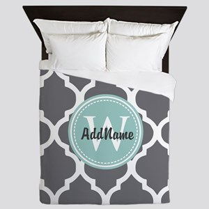 Gray Grey Mint Quatrefoil Monogram Queen Duvet