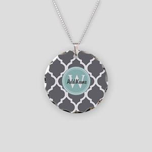 Gray Grey Mint Quatrefoil Mo Necklace Circle Charm