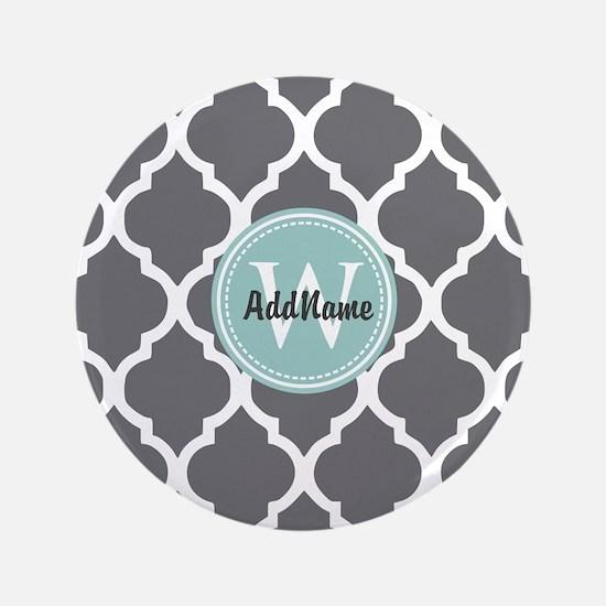 """Gray Grey Mint Quatrefoil M 3.5"""" Button (100 pack)"""