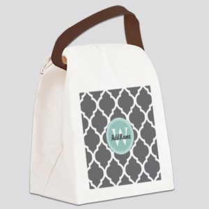 Gray Grey Mint Quatrefoil Monogra Canvas Lunch Bag