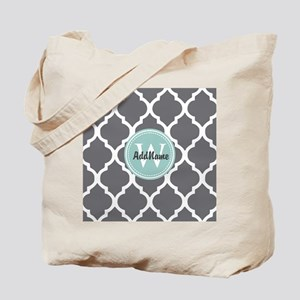 Gray Grey Mint Quatrefoil Monogram Tote Bag