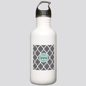 Gray Grey Mint Quatref Stainless Water Bottle 1.0L