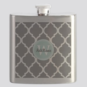 Gray Grey Mint Quatrefoil Monogram Flask