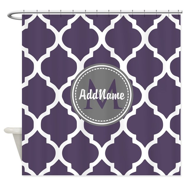 monogrammed purple grey quatrefoi shower curtain by customgifts123. Black Bedroom Furniture Sets. Home Design Ideas