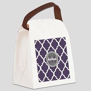 Monogrammed Purple & Grey Quatref Canvas Lunch Bag