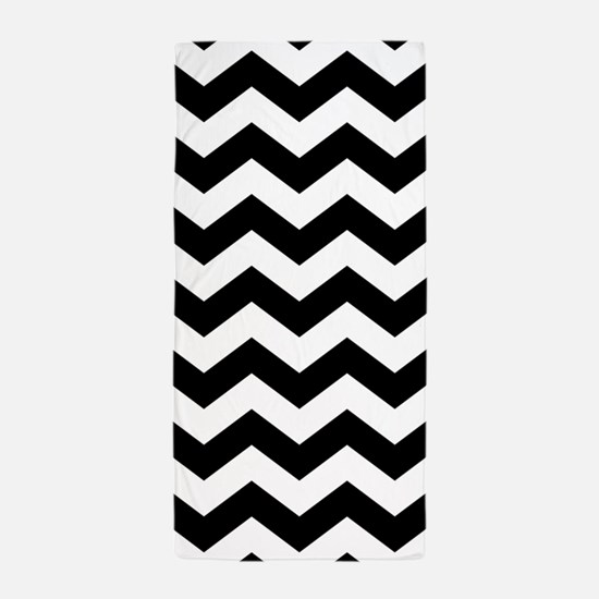 Black And White Chevron Beach Towel