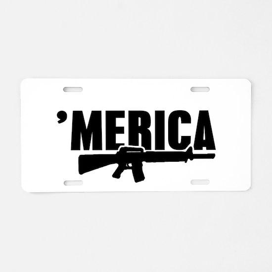 MERICA Rifle Gun Aluminum License Plate