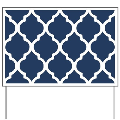 Navy Blue Quatrefoil Pattern Yard Sign by Admin_CP113754339
