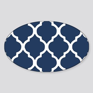 Navy Blue Quatrefoil Pattern Sticker (Oval)