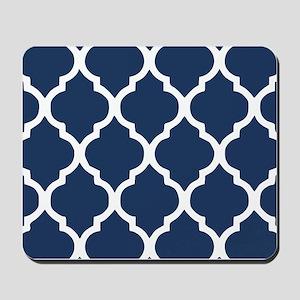 Navy Blue Quatrefoil Pattern Mousepad