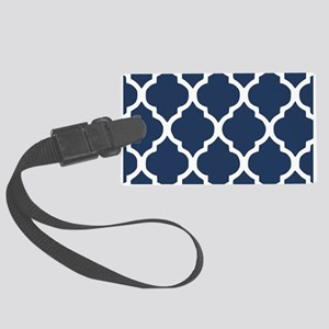 Navy Blue Quatrefoil Pattern Large Luggage Tag