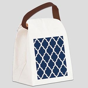 Navy Blue Quatrefoil Pattern Canvas Lunch Bag