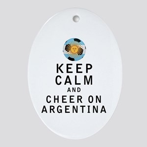 Keep Calm and Cheer On Argentina Ornament (Oval)