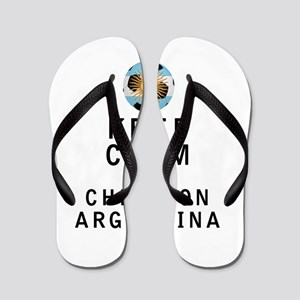 Keep Calm and Cheer On Argentina Flip Flops