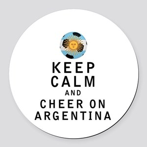 Keep Calm and Cheer On Argentina Round Car Magnet