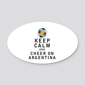 Keep Calm and Cheer On Argentina Oval Car Magnet