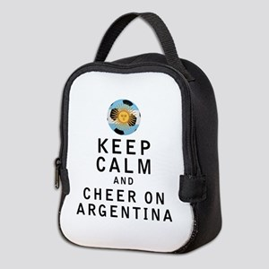 Keep Calm and Cheer On Argentina Neoprene Lunch Ba