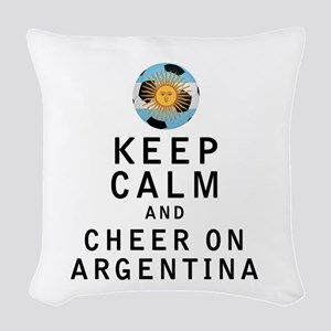 Keep Calm and Cheer On Argentina Woven Throw Pillo