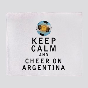 Keep Calm and Cheer On Argentina Throw Blanket