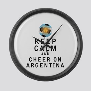 Keep Calm and Cheer On Argentina Large Wall Clock