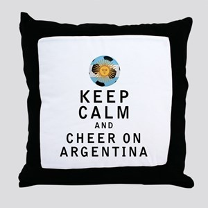 Keep Calm and Cheer On Argentina Throw Pillow