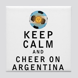 Keep Calm and Cheer On Argentina Tile Coaster