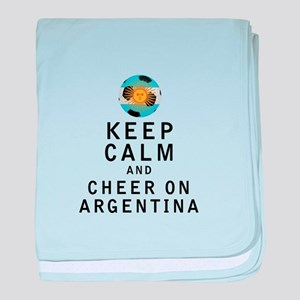 Keep Calm and Cheer On Argentina baby blanket