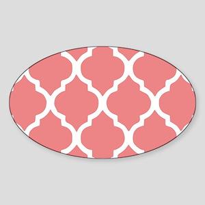 Coral Quatrefoil Tiles Pattern Sticker (Oval)