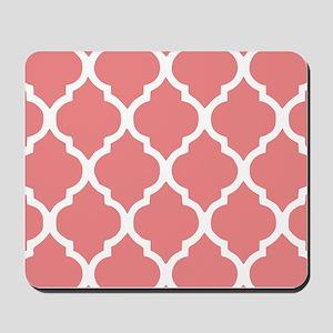 Coral Quatrefoil Tiles Pattern Mousepad