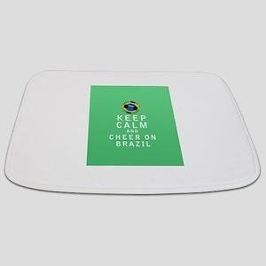 Keep Calm and Cheer On Brazil Bathmat
