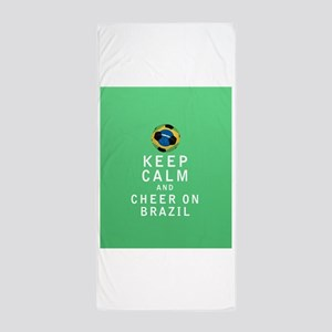 Keep Calm and Cheer On Brazil Beach Towel