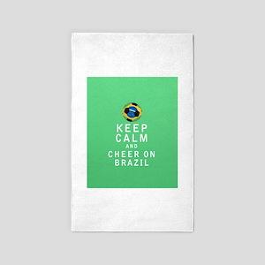 Keep Calm and Cheer On Brazil 3'x5' Area Rug