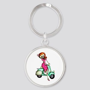Skeleton Girl on The Scooter Keychains