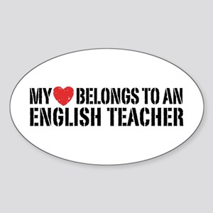 My Heart English Teacher Sticker (Oval)